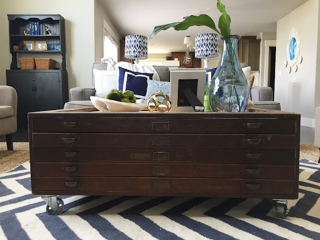 How to style a coffee table with Jen Gallacher. www.jengallacher.com #coffeetable #draftingdrawers