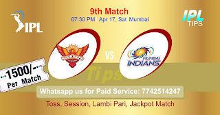 IPL T20 Sunrisers Hyderabad, vs Mumbai Indians 9th Match Who will win Today? Cricfrog