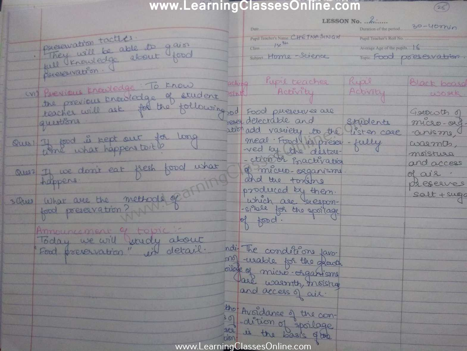 class 9th food preservation home science lesson plan