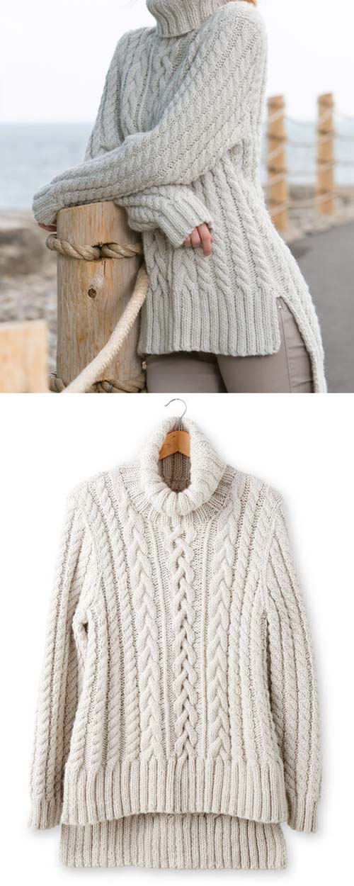 Split Hem Cable Pullover - Free Pattern