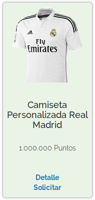 Premio de Camiseta personalizada Real Madrid