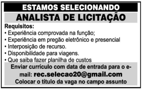 ANALISTA DE LICITAÇÃO