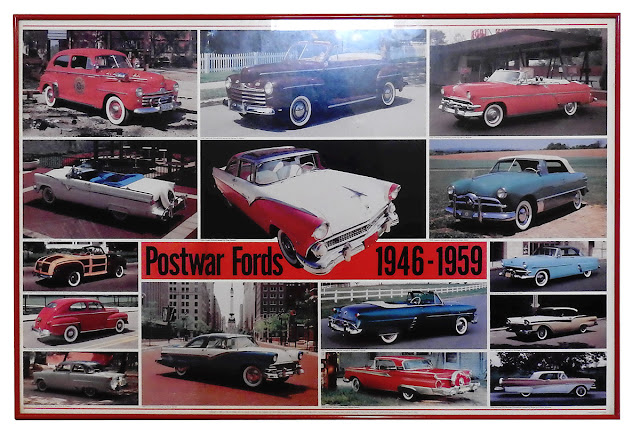A red-metal framed poster of Ford cars from 1946 to 1959.