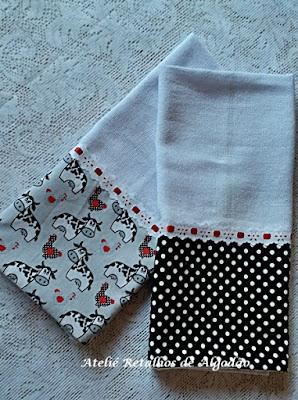 Kit de panos de prato com barra de tecido em estampa preto e branca