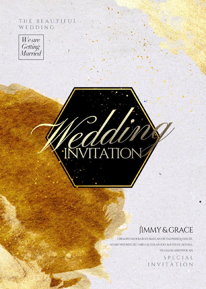 Fashion Simple Gold Water Wedding Invitation