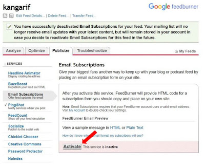 """3. Agar layanan feedburner tadi aktif, buka kembali feedburner anda, Pilih """"Publicaze"""" Lalu pilih yang """"Email Subscriptions"""". Lalu Klik Active."""