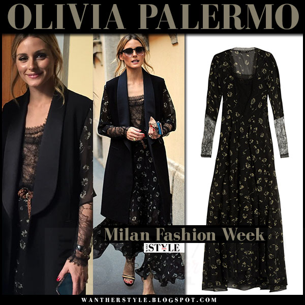 Olivia Palermo in black long vest and black floral print maxi dress etro what she wore milan fashion week