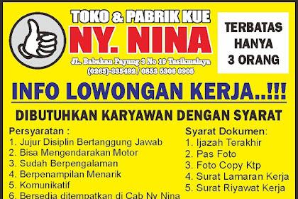 Lowongan Kerja Pabrik Kue Ny. Nina Tasikmalaya Gelombang ke-4