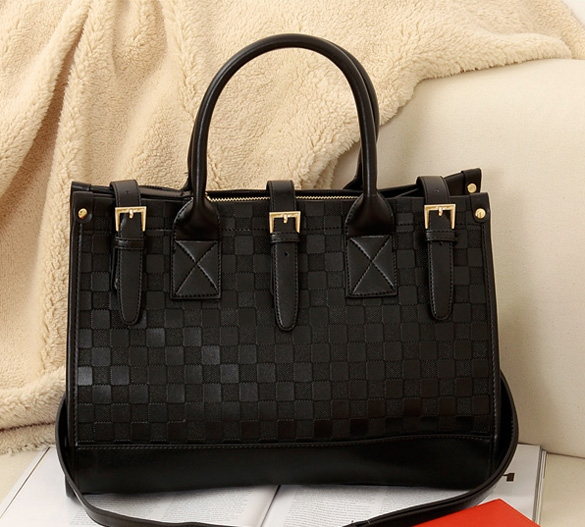 women grid PU leather handbag