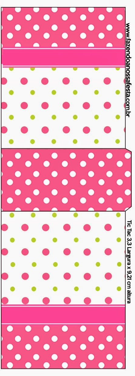 Pink, Green and White Polka Dots Free Printable Tic Tac Labels.