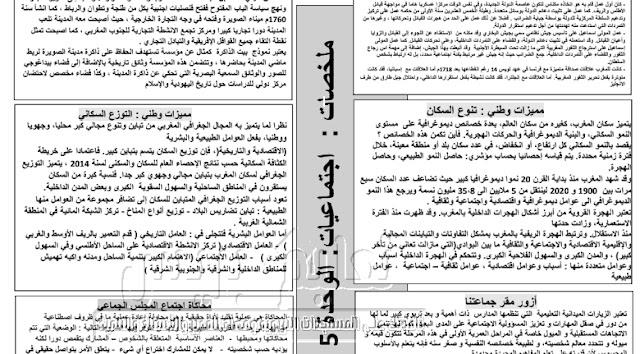 ملخصات دروس الاجتماعيات الوحدة الخامسة للمستوى السادس وفق المنهاج الجديد
