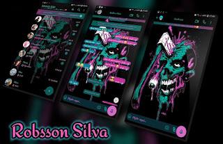 Skull Green Pink Theme For YOWhatsApp & Fouad WhatsApp By Robsson