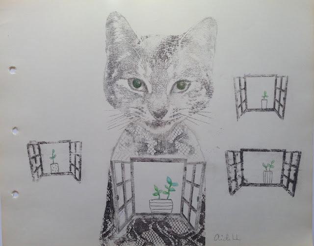 Aide Leit segatehnikas graafika avatud kass näitusel haapsalu pitsikeskuses