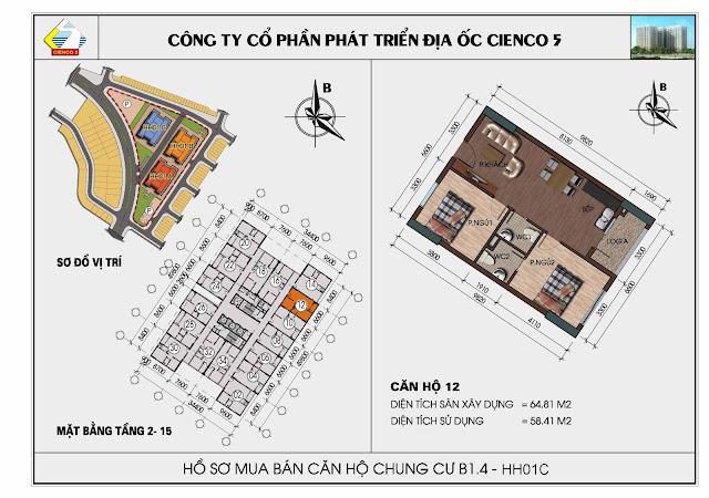 Sơ đồ căn hộ 12 chung cư Thanh Hà Cienco 5 tòa HH01C căn 12