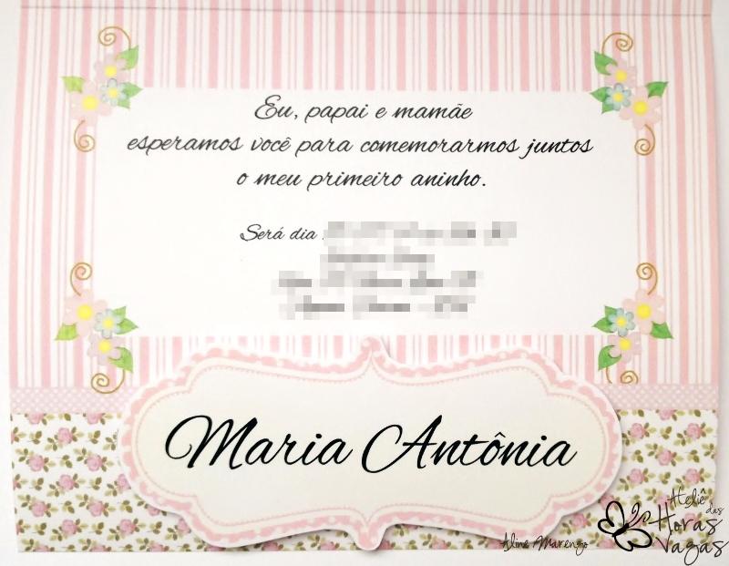 convite artesanal aniversário infantil jardim encantado borboletas flores listras floral rosa provençal menina bebê 1 aninho delicado
