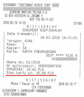 paragon Biedronka potwierdzenie stanu środków na karcie podarunkowej po płatności