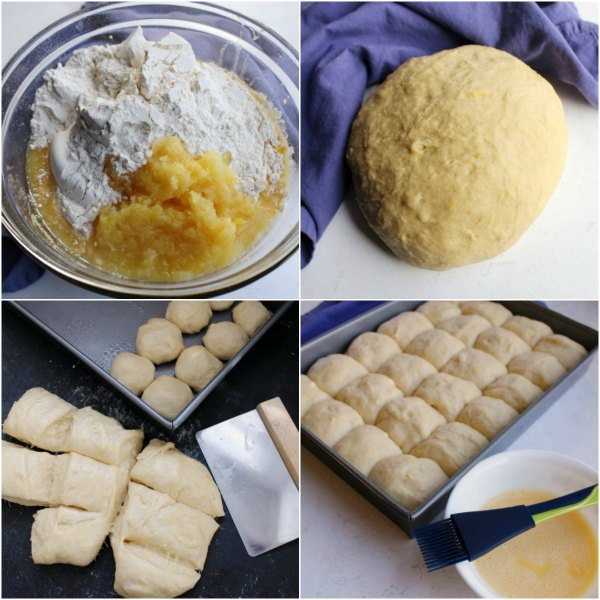 step by step pics of making dough and forming it into rolls