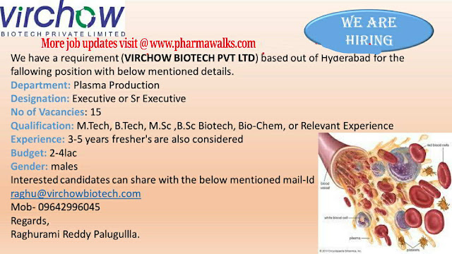 Virchow Biotech urgent openings for Production department