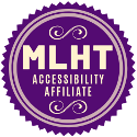 "A purple rosette featuring the words ""MLHT Accessibility Affiliate"""