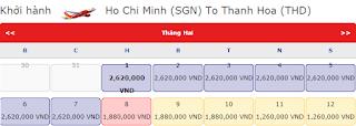 Giá vé máy bay tết đi Thanh Hóa năm 2016