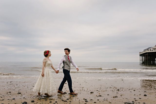 Bride and groom on Cromer seafront