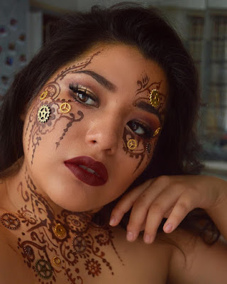 steampunk makeup how to DIY glue gears face paint