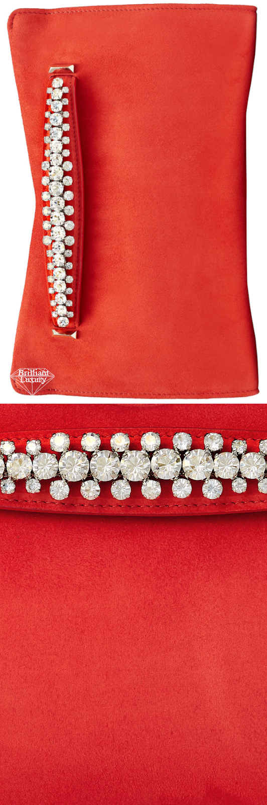 Jimmy Choo Venus Mandarin-Red Suede Clutch Bag with Crystals #brilliantluxury