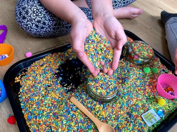 Elmer Sensory Play play ideas for early years