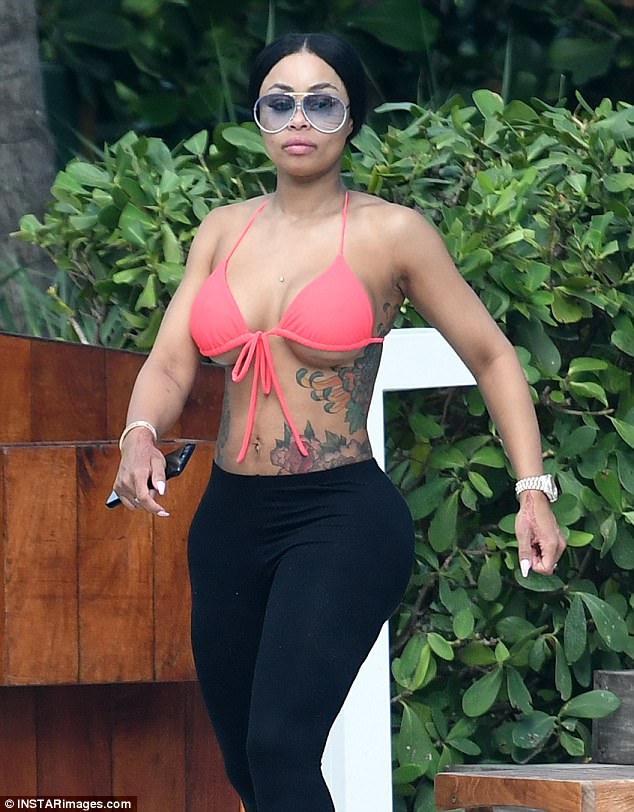 Blac Chyna in bikini top in Miami