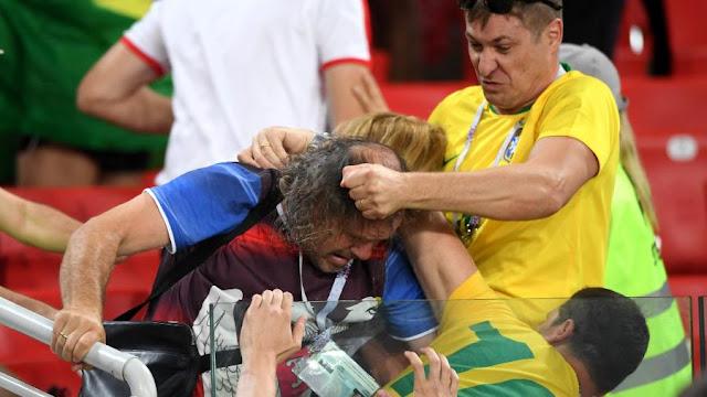 Brasileiros e sérvios trocam socos e agressões na arquibancada após a vitória do Brasil. Assista: - Esporte - Portal SPY