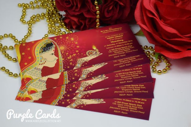 puberty ceremony invitation cards, personalize, personalise, custom made, design, indian, tamil, hindu, singapore, johor bahru, kuala lumpur, seremban, penang, perak, ipoh, pahang, melaka, family, invites, e-card, digital, envelope, art card, matt, pearl, metallic, bespoke, red gold, deepavali, theme