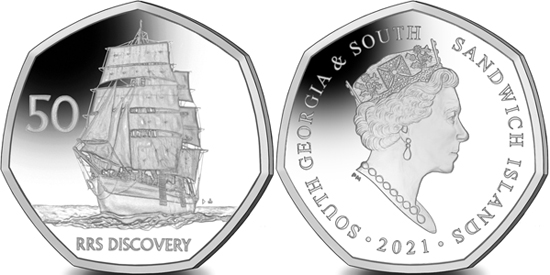South Georgia and South Sandwich Islands 50 pence 2021 - RRS Discovery