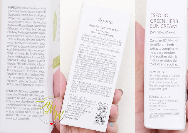 a photo of Esfolio Green Herb Sun Cream Relaxing Review by Nikki Tiu