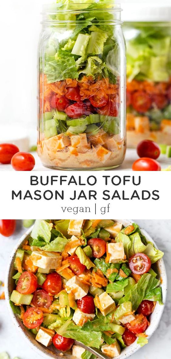 These healthy Tofu Mason Jar Salads are the ultimate vegan meal prep recipe. Made with layers of buffalo tofu, a creamy dressing, greens, and so many more goodies! Simple and easy to make, vegetarian + gluten-free, and so delicious! #masonjarsalad #healthysalad #buffalotofu #mealprep