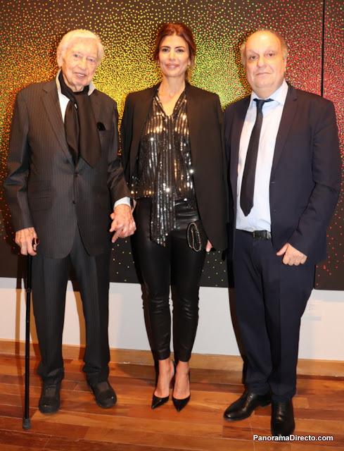 Julio Le Parc, Juliana Awada y Hernan Lombardi en el CCK