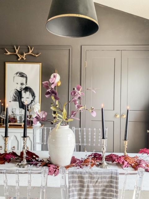 dark gray gold black dining room