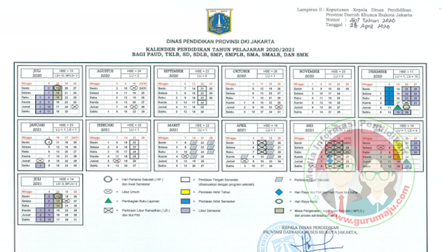 Kalender Pendidikan 2020/2021 Jakarta