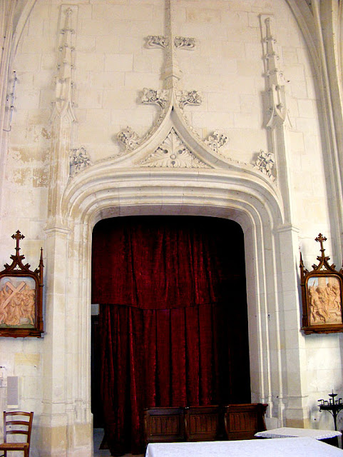 Internal doorway in the church, Sainte Catherine de Fierbois, Indre et Loire, France. Photo by Loire Valley Time Travel.