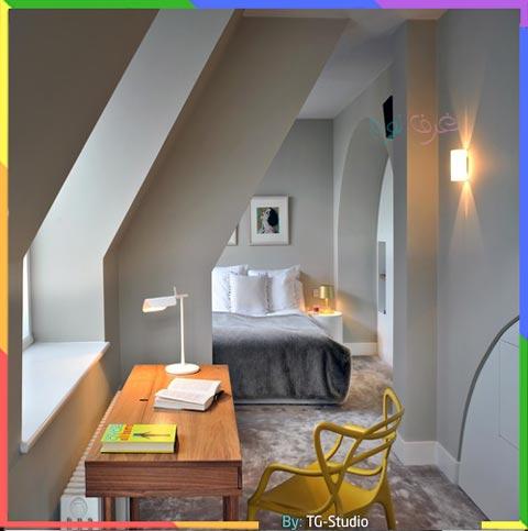 غرف نوم رمادي وابيض مع الأصفر