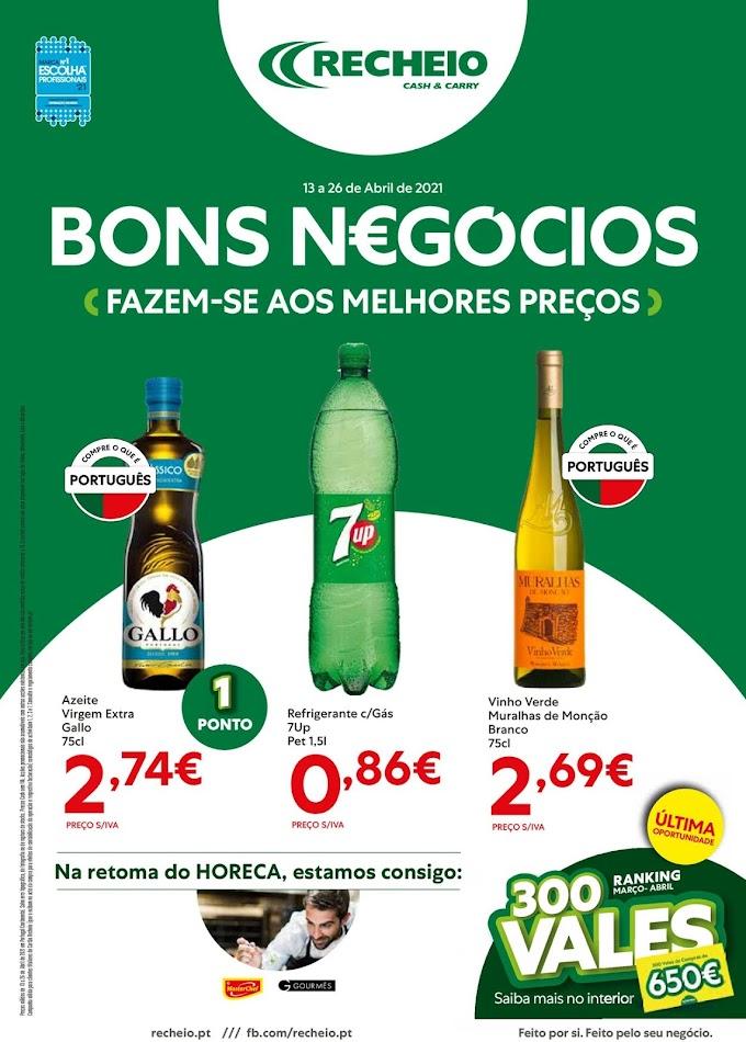 """Folheto RECHEIO - """"Bons Negócios Fazem-se aos Melhores Preços"""" com promoções até 26 de abril"""