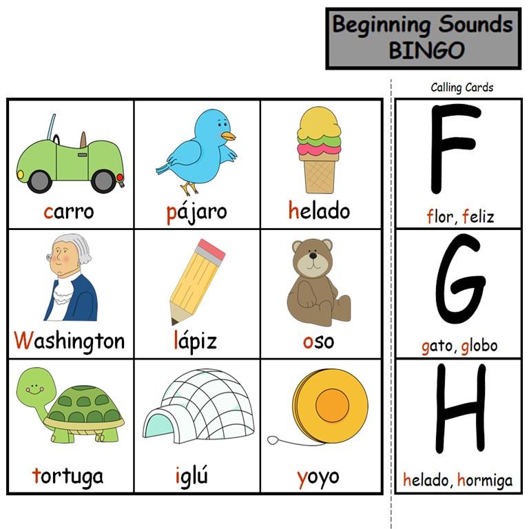 Beginning Sounds Bingo in Spanish