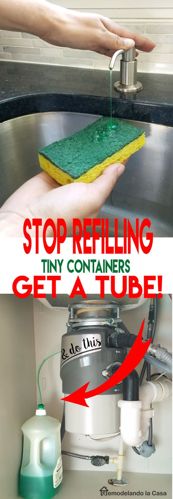 install a tub to a big soap container under the sink