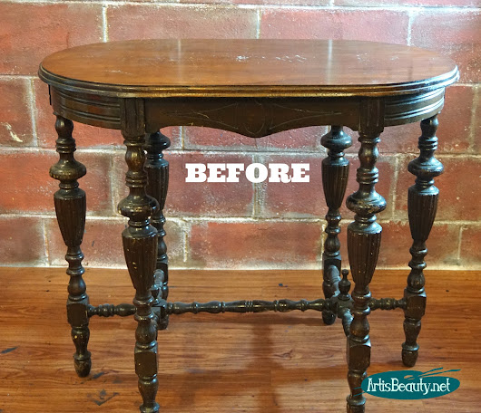 Before and After Antique Library Table Makeover