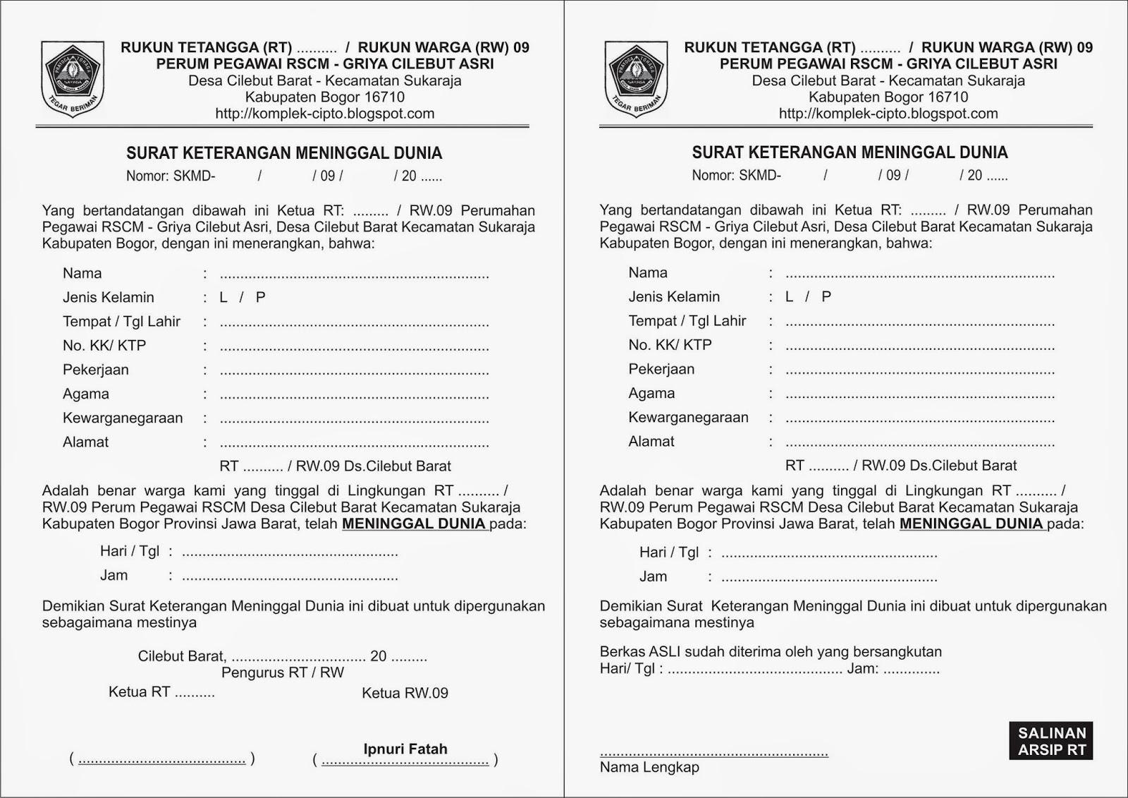Surat Keterangan Lahir Mati Kim Mojo Surabaya