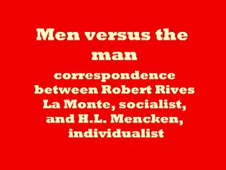 Men versus the man