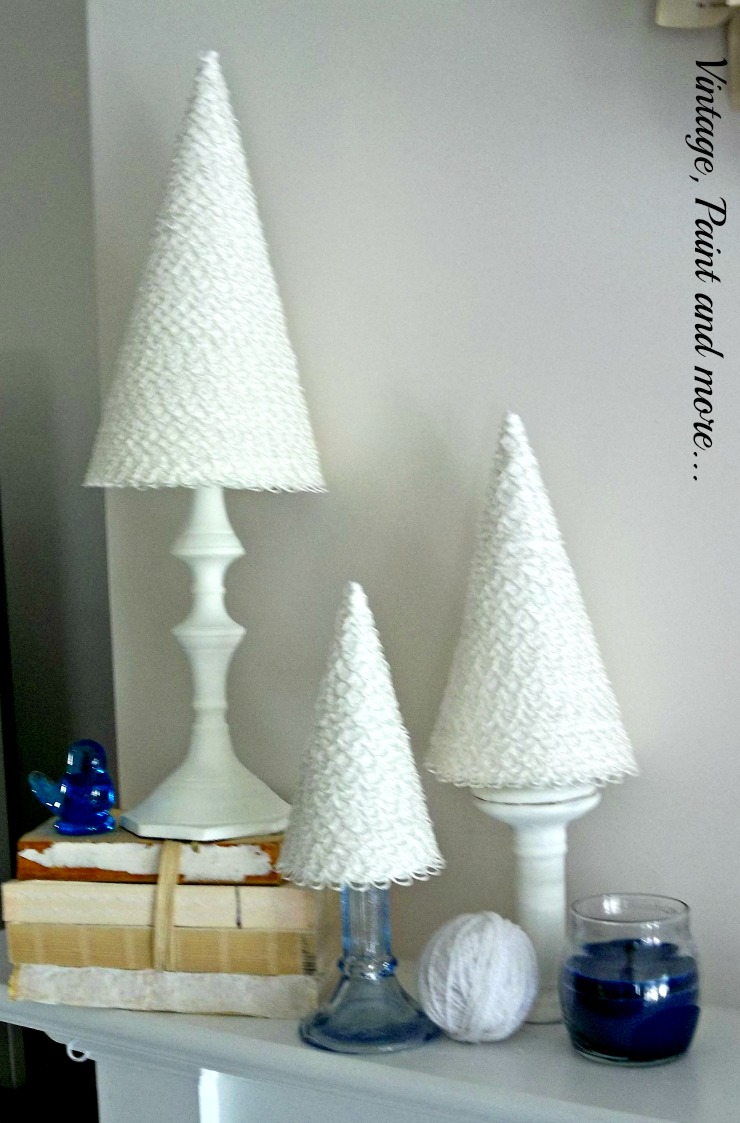 Vintage, Paint and more... diy winter mantel decor of crafted cone trees, thrifted items