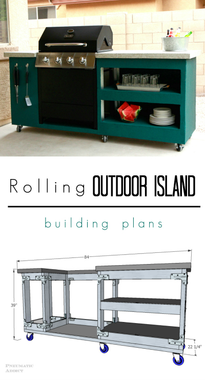 Learn how to make your own rolling outdoor grill island with FREE building plans