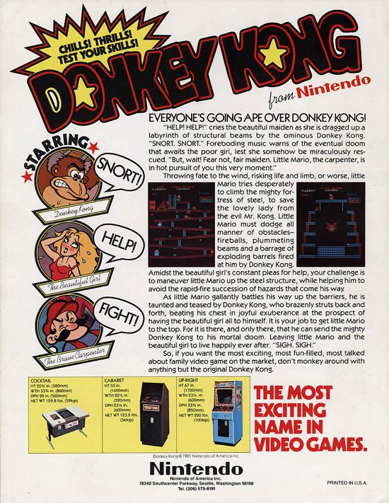 Donkey Kong American flyer 1981 back