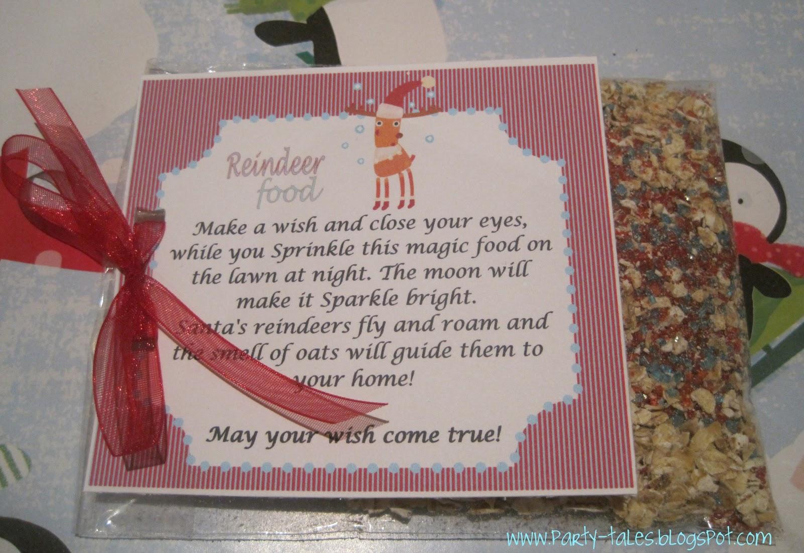 Party Tales Free Printables Reindeer Magic Food Labels