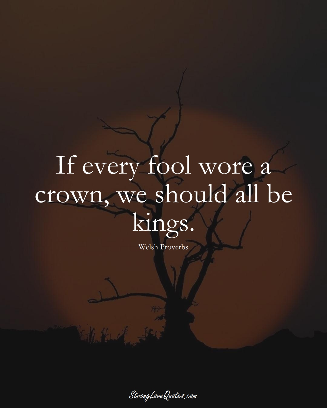 If every fool wore a crown, we should all be kings. (Welsh Sayings);  #EuropeanSayings